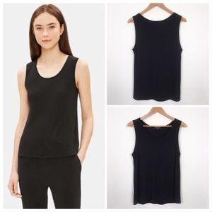 Eileen Fisher System Silk Jersey Short Shell Black